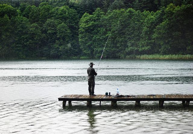 rybář u rybníka