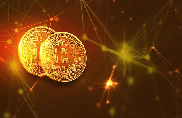zářící bitcoin